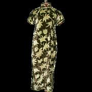 1930's Handmade Chinese Silk Chiffon Velvet Dress Petite
