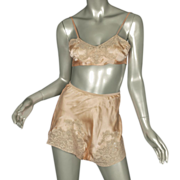 SOLD 1920's Bra & Tap Pants Panties Silk Lace Negligee