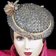 SOLD 1930's Schiaparelli Hat Original Rhinestone Feather Pin