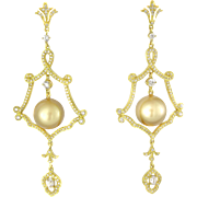 SALE 18k Gold Golden South Sea Cultured Pearl Diamond Earrings