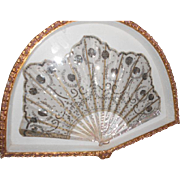 Antique 19thC Silk and Sequin Fan in Box Mounted