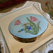 SALE Vintage Enamel Covered Pill Box