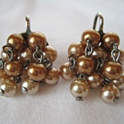 Vintage Unsigned Early Miriam Haskell Cascading Bead Earrings