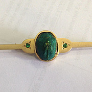 Custom Heavy 18k Egyptian Scarab Beetle & Garnet Brooch