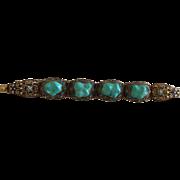 Chinese Enameled Silver Gilt Turquoise Bracelet