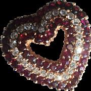 Large 14k Diamond and Garnet Heart Pendant/Brooch