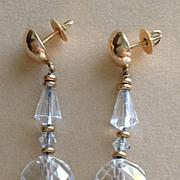 14k Crystal Dangle Earrings