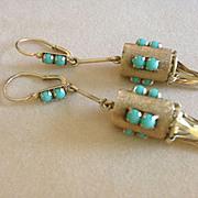 Vintage 18k Persian Turquoise Fringe Earrings