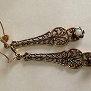 Old 14k Opal Filigree Earrings
