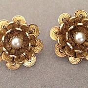 14k Cannetille Pearl Earrings