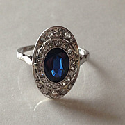 REDUCED Deco Platinum Sapphire Diamond RIng