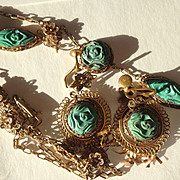 SALE Carved Turquoise Necklace and Earring Set