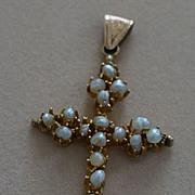 SALE 14k Seed Pearl Wedding Cross