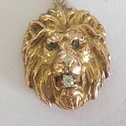 """1910"" 14k DIamond Lion Pendant"