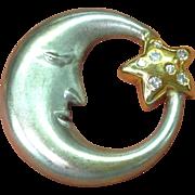 14k Diamond Man In The Moon Pendant