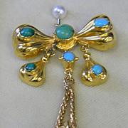 SALE 18k Persian Turquoise Memorium Pendant