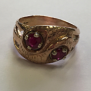 14k Natural 1ctw Ruby Double Snake RIng
