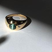 14k Chrysoberyl Cat's Eye Diamond Ring