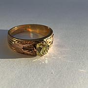 SALE Victorian Cushion Cut Yellow Diamond Ring