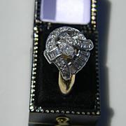 Deco Platinum /14k Diamond Ring