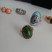 18k Spinach Jade Cabochon Ring