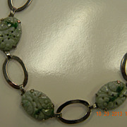 Deco Sterling Asian Carved Jade Panel Bracelet