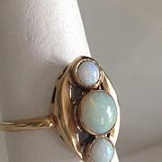 10k Deco Opal Cabochon Ring