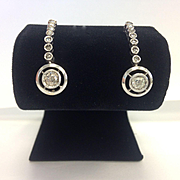 SALE Antique Gold/Silver Cushion Cut and Rose Cut Diamond Dangle Earrings