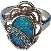 14k Diamond Black Opal Ring