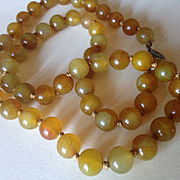 SALE Hand Knotted Rust Colored Jadeite Beads