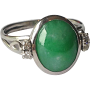 SOLD Platinum Apple Green Jade Diamond Ring