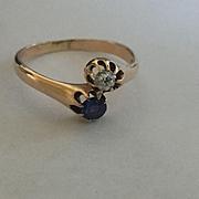 Antique 14k OMC Diamond and Sapphire Ring