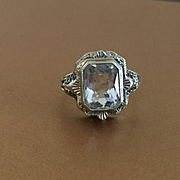 Ornate 14k Aquamarine Ring