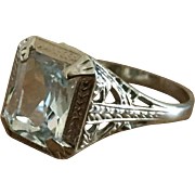 14k White Gold Aquamarine RIng
