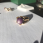 Large 14k Ruby Star Cabochon Ring