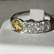 SALE Deco Boyd Parks Platinum Cognac Diamond Ring