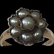 14k Grey Pearl Daisy Ring