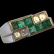 SALE Platinum Deco Oscar Heyman Brothers Emerald & Diamond Ring
