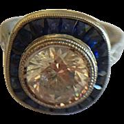 Platinum French Cut Sapphire Diamond & CZ RIng
