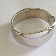 SALE Large Sterling Modernist Mexican Hinged Bracelet