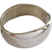 SALE Large Sterling Modernist Mexican Hinged Bracelet