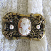 SALE Art Deco Carved Shell Cameo Brooch Pin with Salt Water Pearls