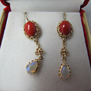 SOLD 14 karat Gold Victorian Revival Style Natural Coral and Opal Earrings