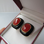 SOLD Carnelian Cabochon and Onyx Earrings Gold over Silver by Famous Chinese Designer Kai Yin