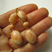 "14 k Gold Angel Skin Natural Undyed CORAL Ear Pendants 2"" Long Earrings 9.7 grams"