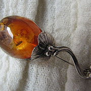 SALE Graceful Interesting Cognac Baltic Amber Sterling Silver Flower Brooch Pin