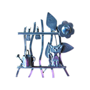 FUN Vintage Silver Brooch Pin with CAT ON THE FENCE with Two Birds Flower and Watering Can