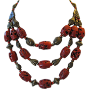 Beautiful Czech Art Deco Faux Red Coral and Brass 3 Strand Necklace