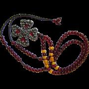 SALE Antique Plique-a-Jour Silver Cross Pendant on Vintage Cherry Amber Bakelite Necklace