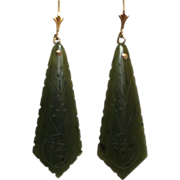 SALE 14K Gold Carved Green Jade Long Pendant Earrings 58 mm 6.9 g